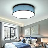 Round LED Cloth Ceiling Light Modern Romantic Ceiling Lamp for Bedroom Living Room Jute Blue and White Drum Cylinder Metal Textile Lighting with Circular Ceiling Cloth Lampshade,Ø50*H20CM,15W