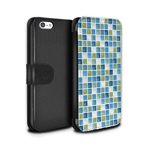 Stuff4 Coque/Etui/Housse Cuir PU Case/Cover pour Apple iPhone 5C / Pack (15 modèles) Design / Carreau Bain Collection Bleu/Vert