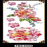 Handaxian 3pcsNew Fiore del Peony Rose Tattoo Arm Spalla sotto Il Seno Impermeabile Sano Signora Tatuaggio del Corpo