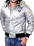 Reslad Herren Jacke Forza Glanz Winterjacke mit Abnehmbarer Kapuze RS-700 Silber S
