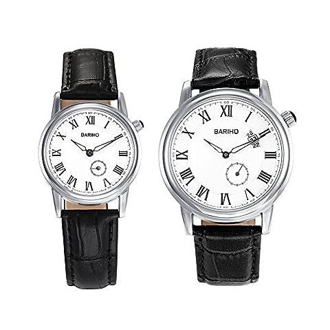Hongboom Noir véritable de bande de cuir montre bracelet Homme Femme décontracté analogique à quartz Couples Montre-bracelet étanche jusqu'à 30m