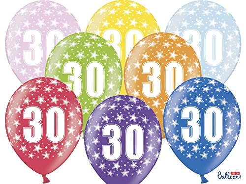Set 6 pz Palloncini 30 Anni Multicolor - Compleanno festa Decorazioni Party Leva Star