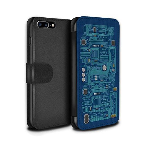 Stuff4 Coque/Etui/Housse Cuir PU Case/Cover pour Apple iPhone 7 Plus / Pack 5pcs Design / Circuit Board Collection Bleu