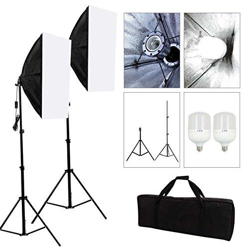 SBARTAR- Softbox Dauerlicht Studioleuchte LED Studio Lighting Kit Fotostudio Fotoleuchte Studioset mit 50x70cm SoftboxenX2+2X Stativ+2x28w LED Fotolampe+1xTragtasche
