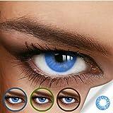 Farbige Jahres-Kontaktlinsen Naturally Sweet Blue - MIT und OHNE Stärke in BLAU - von LUXDELUX - ohne Stärke (+/- 0.00 DPT)