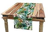 ABAKUHAUS Blatt Tischläufer, Bananen-Palme-Blätter, Esszimmer Küche Rechteckiger Dekorativer Tischläufer, 40 x 180 cm, Blasser Karamell Bordeauxrot und Grün