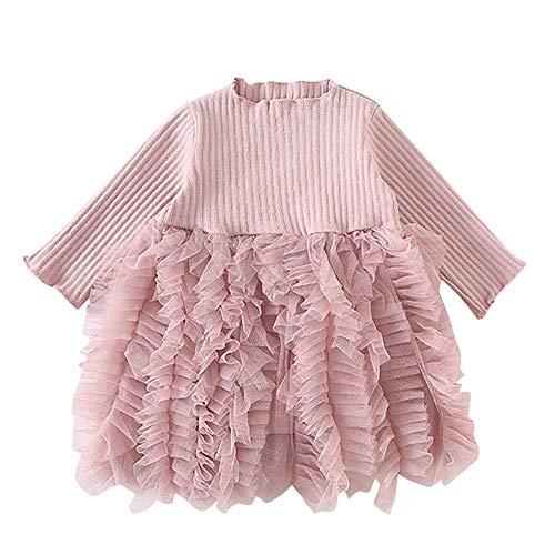 HEETEY Baby Mädchen Junge Winter Herbst Mädchen Stricken Bogen Tüll Prinzessin Tutu-Ballkleid Partykleid Kleidung Bogen Langarm Strickkleid -