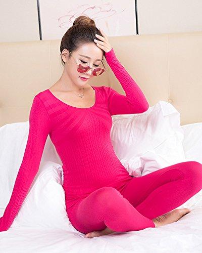 Donna Intima Termica Set Slim Fit Manica Lunga Pullover Top & Leggings Termici Rose