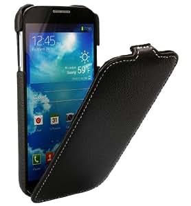 xubix Premium Ultradünn Leder Flip Case für Samsung Galaxy S4 Mini schwarz