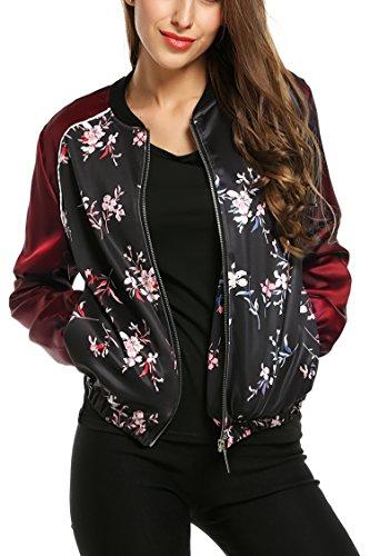 Zeagoo Damen Blumen Bomberjacke Gepolstert mit Reißverschhluss Kurz Jacke mit Stehkragen Rot S