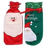 Decorazioni natalizie Borsa per vino in 2 pezzi Borsa per vino Borsa per regalo di Natale Modello di Babbo Natale Borsa per vino rosso Tappo per bottiglia di vino Home Party Hotel Bottiglie di vino