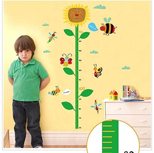 (haotong11 Biene Blumen Höhe Aufkleber Kinderzimmer Kindergarten Klassenzimmer Hintergrund dekorative Wandaufkleber PVC grüne Dekoration)