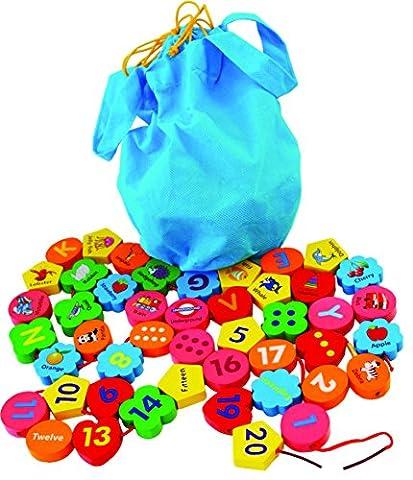 Toys of Wood Oxford enfilage de perles en bois Aphabet et blocs de numéros 46 pièces dans un sac -26 alphabets et numéros 1-20