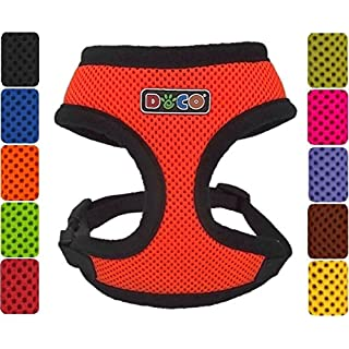 DDOXX Air-Mesh Soft Dog Harness sizes | for large, medium & small dogs | Dog Vest Harness | Dog Soft Harness | Orange, Size D [L] | [Lead & Collar sold separately]