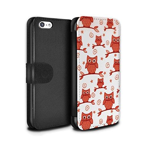 Stuff4 Coque/Etui/Housse Cuir PU Case/Cover pour Apple iPhone 5C / Jaune/Violet Design / Motif Hibou Collection Rouge/Blanc