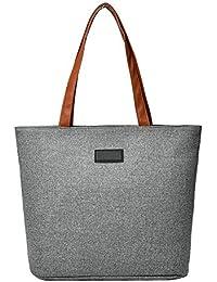 Vodool Women Casual Canvas Shopping Bags Shoulder Handbag Large Summer Beach Totes