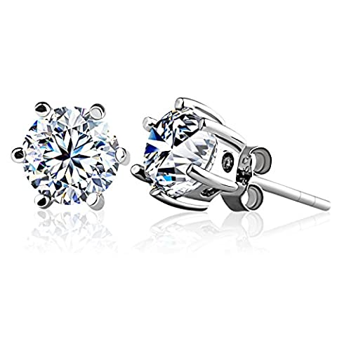 J.Rosée Earrings Studs 925 Sterling Silver 3A Round Cut Cubic Zirconia for Lady Be Loved 6 MM