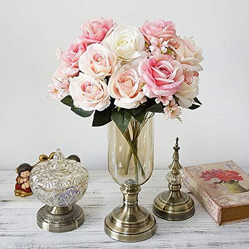 Nomsocr Fleurs Artificielles Rose, faux Fleurs 9têtes de mariage Bouquet de mariage pour Home Garden Party Décoration de mariage 50cm rose