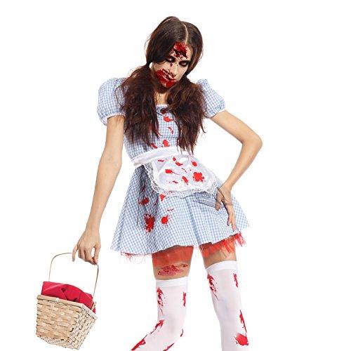 Damen Zombie Lolita Horror Blutige Hausmaedchen Dienstmaedchen Kostuem Halloweenkostuem KARNEVAL FASCHING (Paare Kostüme Halloween 80's Für)