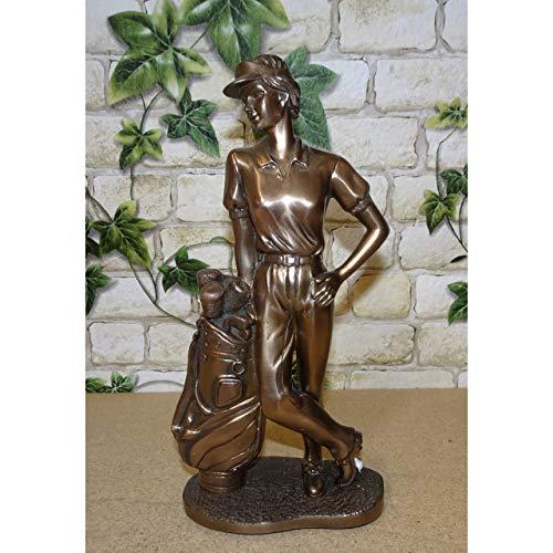 Gr Golf Sport Figur Golfer Jugendstil Deko Skulptur Statue massiv bronzefarben 22cm