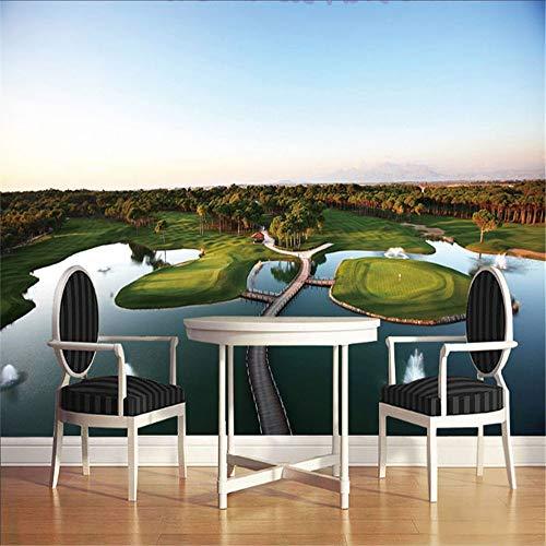 Sucsaistat 3D Wandbilder Island Lake Golf View Vlies Rolle Für Wohnzimmer Desktop Home Decor Wandbild, 400 * 280 cm