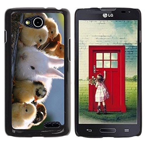 DREAMCASE Hart Handy SchutzHülle Hülle Schale Case Cover Etui für LG OPTIMUS L90 D415 - Cute Chicks & Rabbit