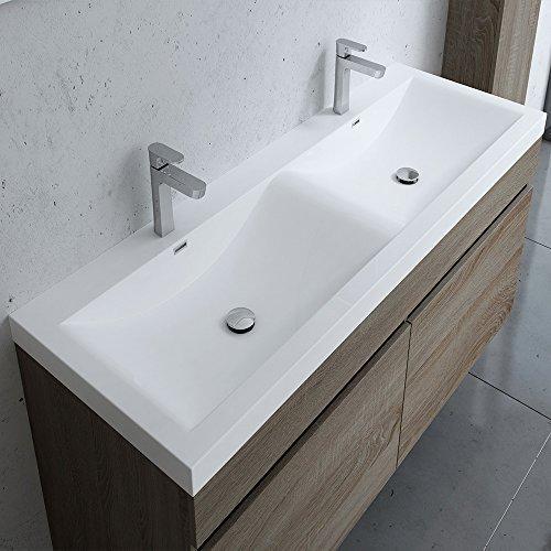 Breite: 120 cm Design Badezimmermöbel-Set Botanica in Nussbaum bestehend aus Waschbecken und Waschbeckenunterschrank, Waschbecken aus Mineralguss,