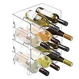 mDesign Portabottiglie Vino in Plastica Robusta - Bottigliera e Scaffale Porta Vino per conservazione ottimale di vini di qualità - Struttura impilabile - Per 12 bottiglie