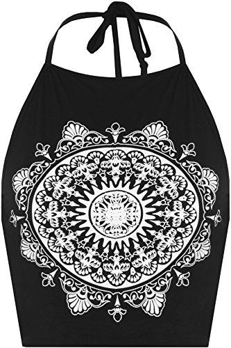 WEARALL Femmes Célébrité Mandala Tribal Cercle Imprimer Halterneck Cravate Dames Récolte Haut - Hauts - Femmes - Tailles 36-42 Noir