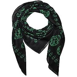 Freak Scene Pañuelo de algodón ° Calaveras 1 negras/verde ° Pañuelo cuadrado para el cuello