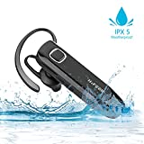 Bluetooth Headset with Mic Noise Cancelling, HIFEER Business Handsfree Earpiece Single Wireless Headphone 4.1v Waterproof IPX5 HD Sweatproof In-ear Earphone for Car Driver, Trucker, Bike Sports, Black