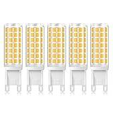 G9 LED Lampe Birne 5W Dimmbar 600Lumen AC220V 88xSMD LEDs Warmweiß 3000K 360°Abstrahlwinkel Equivalent zu 50W Glühbirne (5 Stück)
