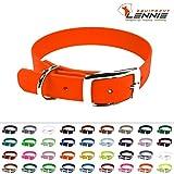 LENNIE BioThane Halsband, Dornschnalle, 25 mm breit, Größe 44-52 cm, Neon-Orange, Aufdruck möglich