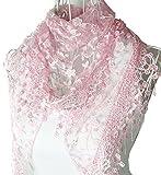 HugeStore, elegante nappa in pizzo e seta sfumata, triangolare Light pink