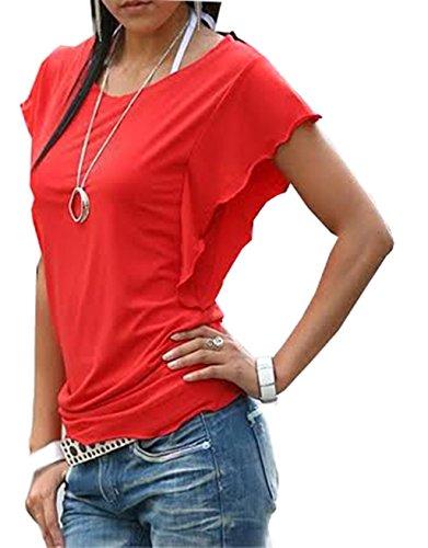 Mississhop Damen Shirt mit Schmetterlingsärmeln Tshirt Top Bluse Longshirt Tunika Tanktop Fala Rot L Old Navy Capri-jeans