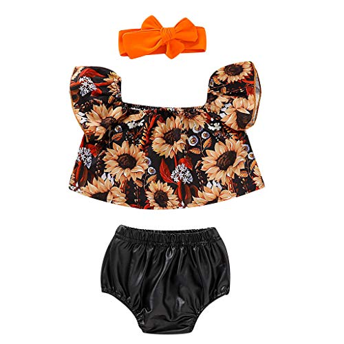 Generic JERFER Neugeborenen Set Toddler Girl Sunfloral Tops+Shorts+Hairband Fly Sleeve Outfits Clothes Set (Fly Girl Kostüm)