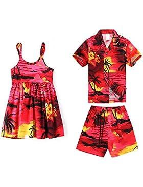 Coincidiendo con los hermanos niño y Niña Hawaiian Luau Outfits en Puesta de sol Rojo y azul