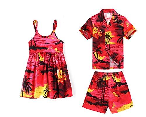 Coincidencia-de-nio-y-nia-Hermanos-hawaianos-Luau-trajes-en-Puesta-de-sol-rojo-Nia-6-nio-14
