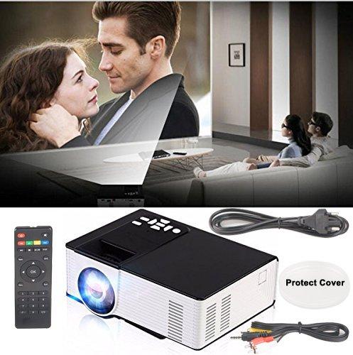 Intelligenter Bluetooth 1080P geführter Projektor,Mini volles HD Heimkino-Videoprojektoren,bewegliches eingebautes Android 4.4 System-drahtloser WIFI Digitalprojektor,Unterhaltung Haupt HD riesiges Schirm-Theater bevorzugte 800 * 480 Entschließung Unterstützung WiFi / AV / VGA / HD / USB / TF KARTE / Fernsehapparat für Smartphones iphone PC Laptop