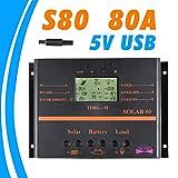 CHRRI Solar-Controller 12 V 24 V 80A Solarladung und Entladung Controller LCD Flüssigkristallanzeige