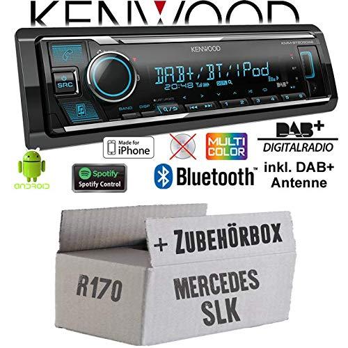 Autoradio Radio Kenwood KMM-BT505DAB - DAB+ | Bluetooth | iPhone/Android | Spotify | VarioColor - Einbauzubehör - Einbauset für Mercedes SLK R170 - JUST SOUND best choice for caraudio (Beste Radio)