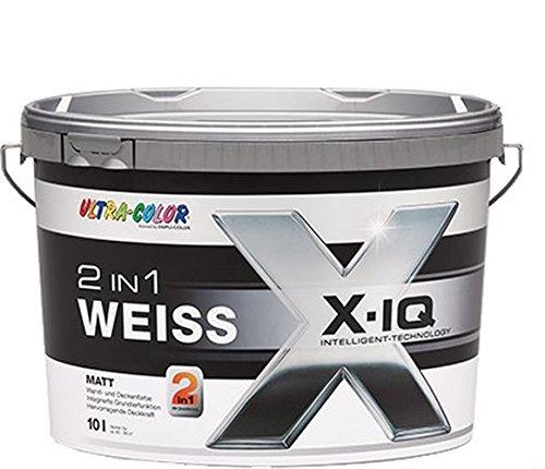 2 x5 L Ultra-Color 2in1 Gipskartonfarbe Premium Wandfarbe und Grundierung in einem 1x streichen, Deckkraftklasse 1 Extramatt Weiß 10 Liter