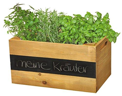"""WAGNER GreenFAMILY – Mobiles Pflanzenbeet """"KräuterBOX"""" – Kiefer massiv, FSC, braun, 39 x 24 x 20 cm, 4 Rollen, Beschriftungsfeld, Tragkraft 50 kg – 25021001"""