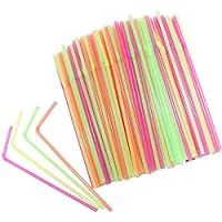 Wicemoon 100pcs Plastic Coke Straws Disposable Beverage Can be Bent Colorful Drinking Straw 5mm