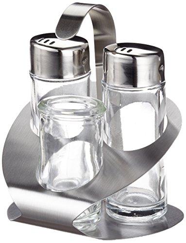 Fackelmann 55312 - portacondimenti stoha per sale, pepe e stuzzicadenti, 4 pezzi colore: topazio