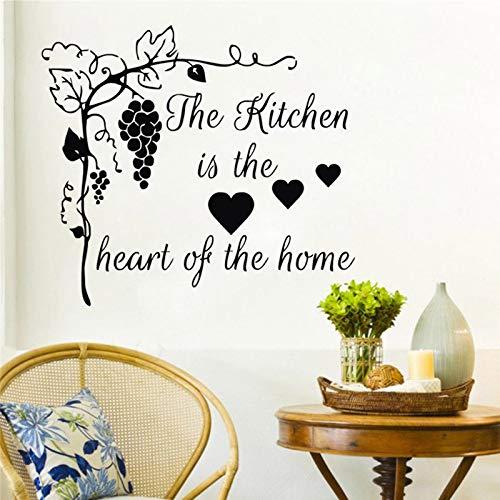 jiushizq Trauben Wandaufkleber Wohnkultur Die Küche ist das Herzstück des Wohnraums Waren für Kreativität Zitat Wandtattoos V 44cm X 49cm