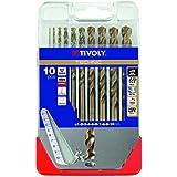 Tivoly A33–Pack de 10forets pour métal DIN 338HSS Co Diamètre de 1, 2, 3, 4, 5, 6, 7, 8, 9, 10mm)