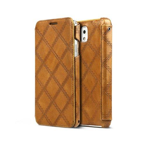 Italian Vintage Quilt Diary Klapptasche für Samsung Galaxy Note 3 braun