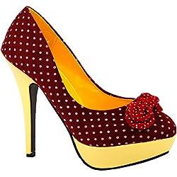 Mostrar la historia de Gaga rojo lunares blanco arco amarillo tacones de tacón alto plataforma de aguja bombas de fiesta, LF30426RD36, 36EU, rojo