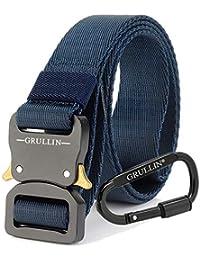 GRULLIN Men Tactical Cinturón de nylon, aparejo militar Cinturón de cintura, Cinturón de nylon Molle EDC Clip Belt